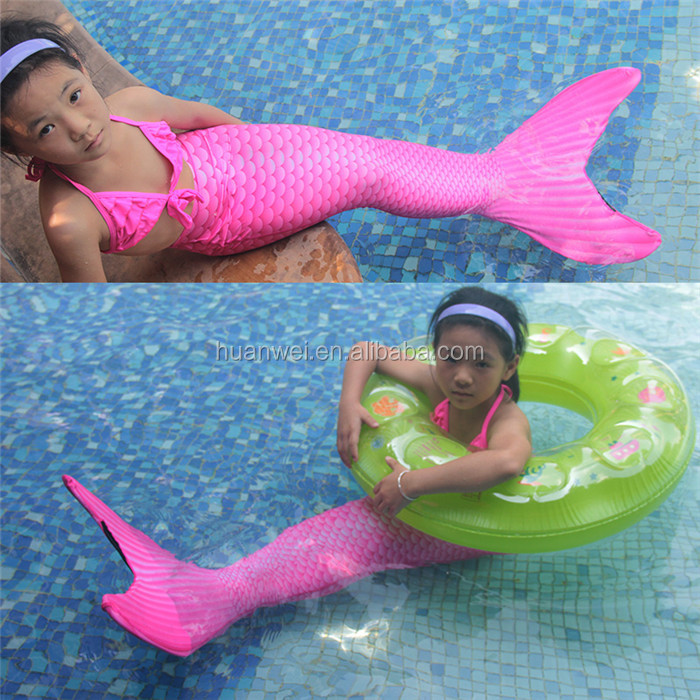 lovely Girl's pink swimwear 2017 kids Swimmable mermaid tail for swimming