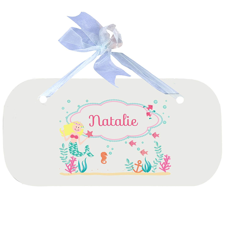 Personalized Blonde Mermaid Princess Nursery Door Hanger Plaque with blue ribbon