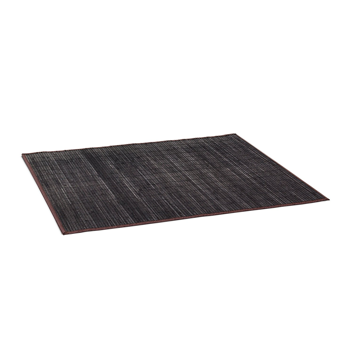 Relaxdays Bamboo Bath Mat 100 x 80 cm Bathroom Mat of Wood with Anti-Slip Underside, Perfect for use as Bathtub Mat or Shower Mat, Black