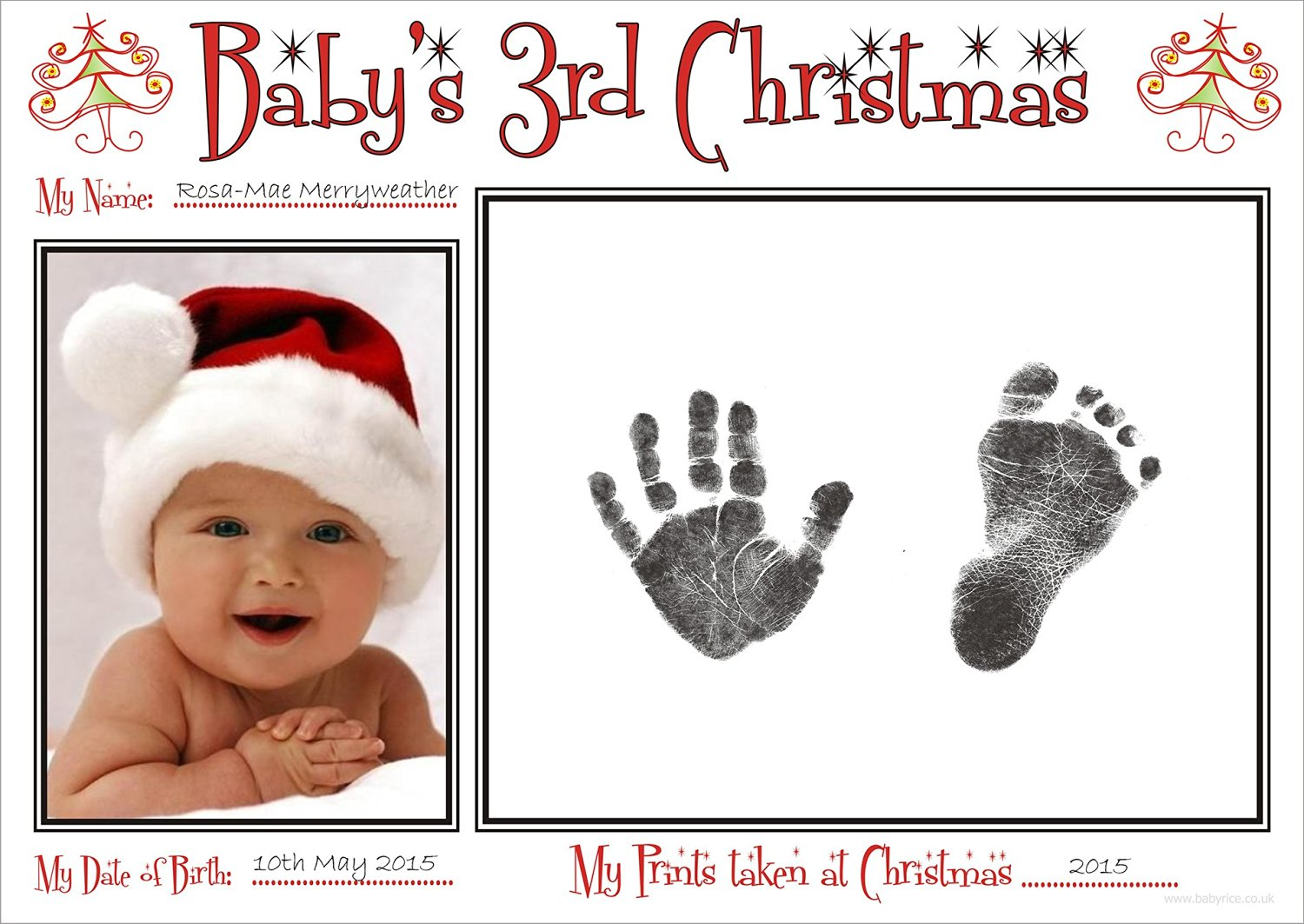 BabyRice New Baby's Third Christmas Handprint & Footprint Kit / Boy Girl Unisex Babys Prints on 3rd Xmas