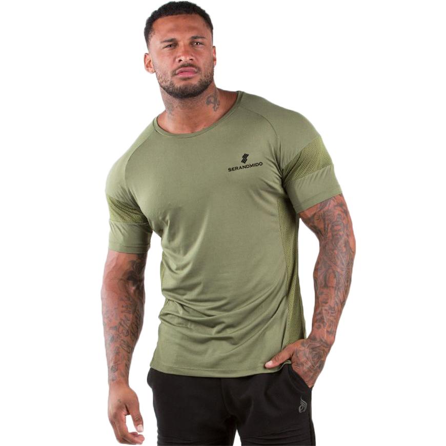 Camiseta atlética para hombre para ejercicio de gimnasio, camisetas deportivas con Logo personalizado, con paneles de malla
