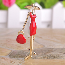 Scarf Accessories Hot Sale Fashion Red Paris Girls Enamel 18K Gold Plated Bag Ladies Brooch Hat Pin Brooch Scarf Accessories