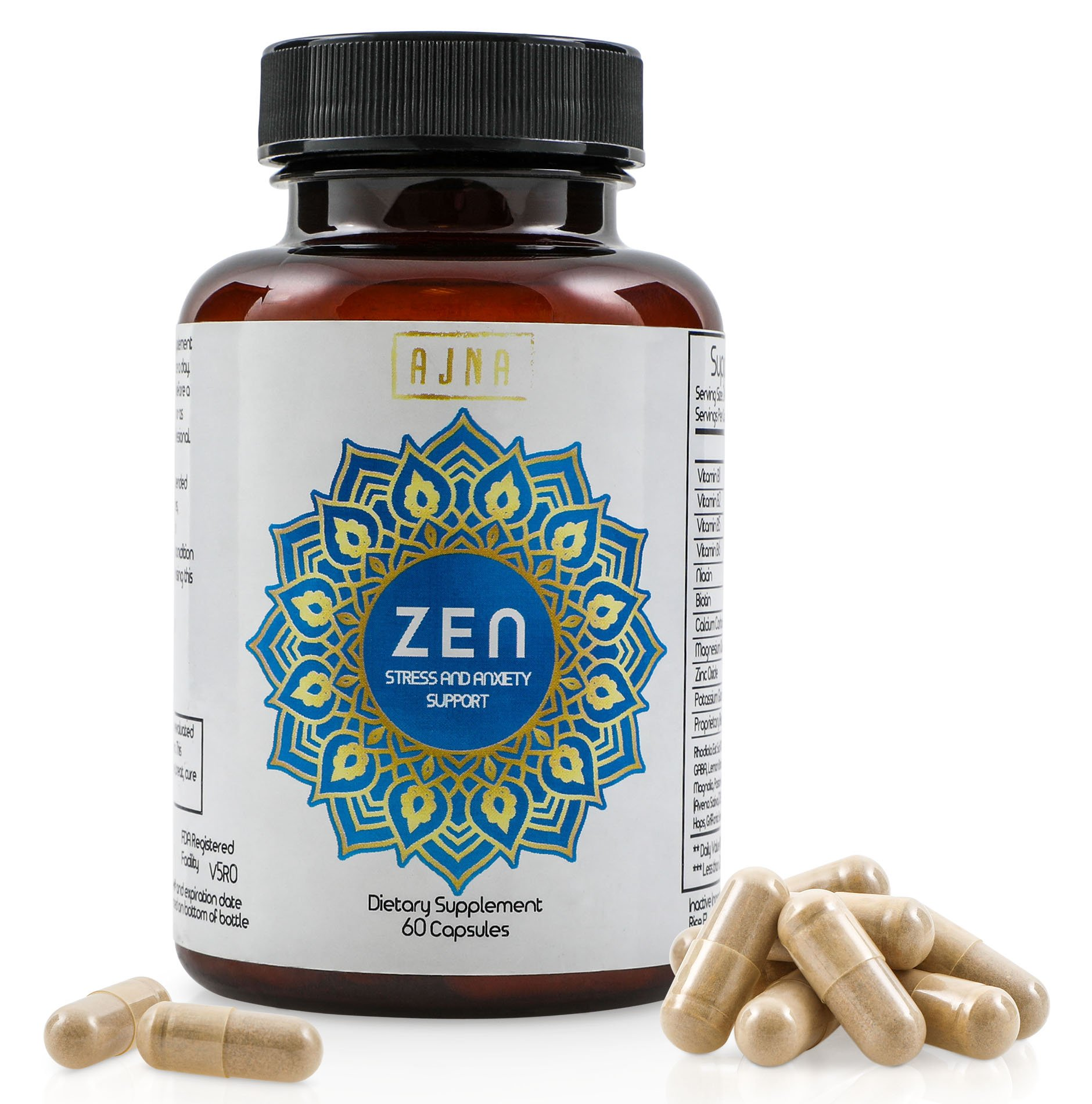 Natural Anti-Anxiety, Anti-Stress Supplements   Mood Boost, Stress Relief Supplement   Vegan, Non-GMO Pills for Calming & Relaxation   Capsules Made with Anxiety Reducing Chamomile, L-Theanine, 5-HTP