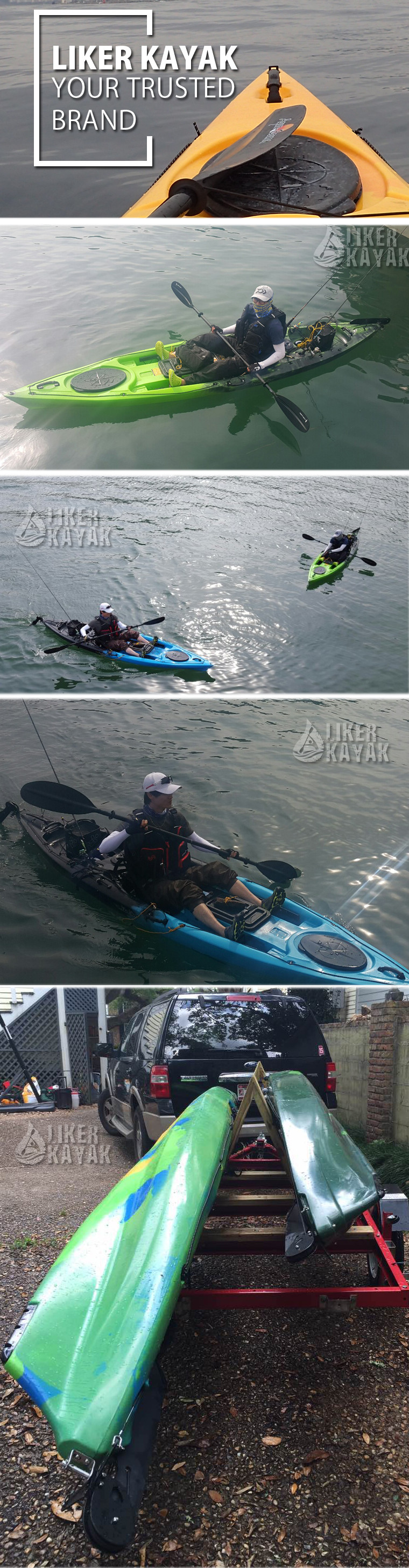 LIKER KAYAK 4.0m Fishing Kayak With Seat Trolley Sit On Top Clear Hatch Kayak