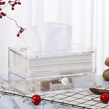 Fashion Square Acrylic Napkin Box Dispenser Holder Lucite Drawer Tissue Box