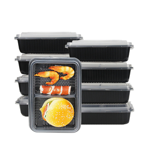 Eco-Friendly Microwave Black Bento Lunch Box Pp Disposable Plastic Sectional Take Away Food Container With Divider