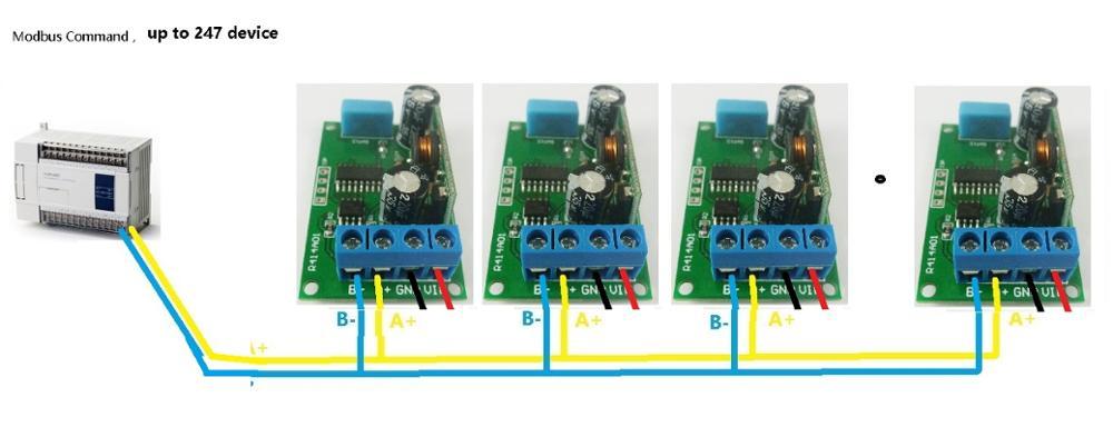 dc 5v 23v rs485 modbus rtu temperature humidity sensor. Black Bedroom Furniture Sets. Home Design Ideas