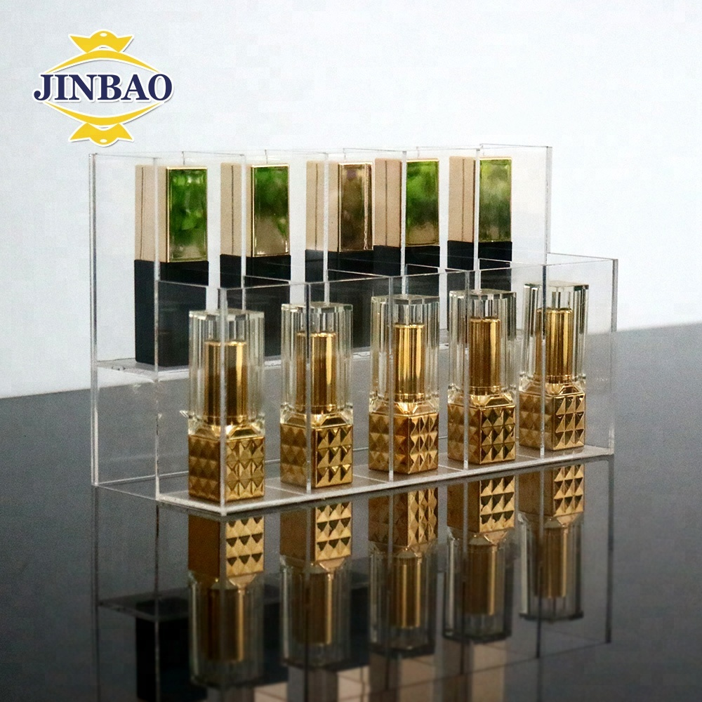 JINBAO Custom Cheap Clear Makeup Holder Trapezoidal Shape Acrylic Cosmetic Display 10 Slots Lipsticks Stand Holder for Store
