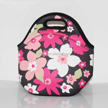 Wholesale Cute Neoprene Cooler Insulated Lunch Tote Bag With Sublimation  Flower Printing - Buy Lunch Tote Bag,Neoprene Cooler Bag,Insulated Tote Bag