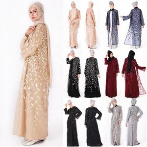 05fd060f5a8fc Luxury Embroidery Abaya Lace Stitching Long Maxi Muslim Dress Sequins  Cardigan Long Robes Kimono Arab Islamic Prayer Dress