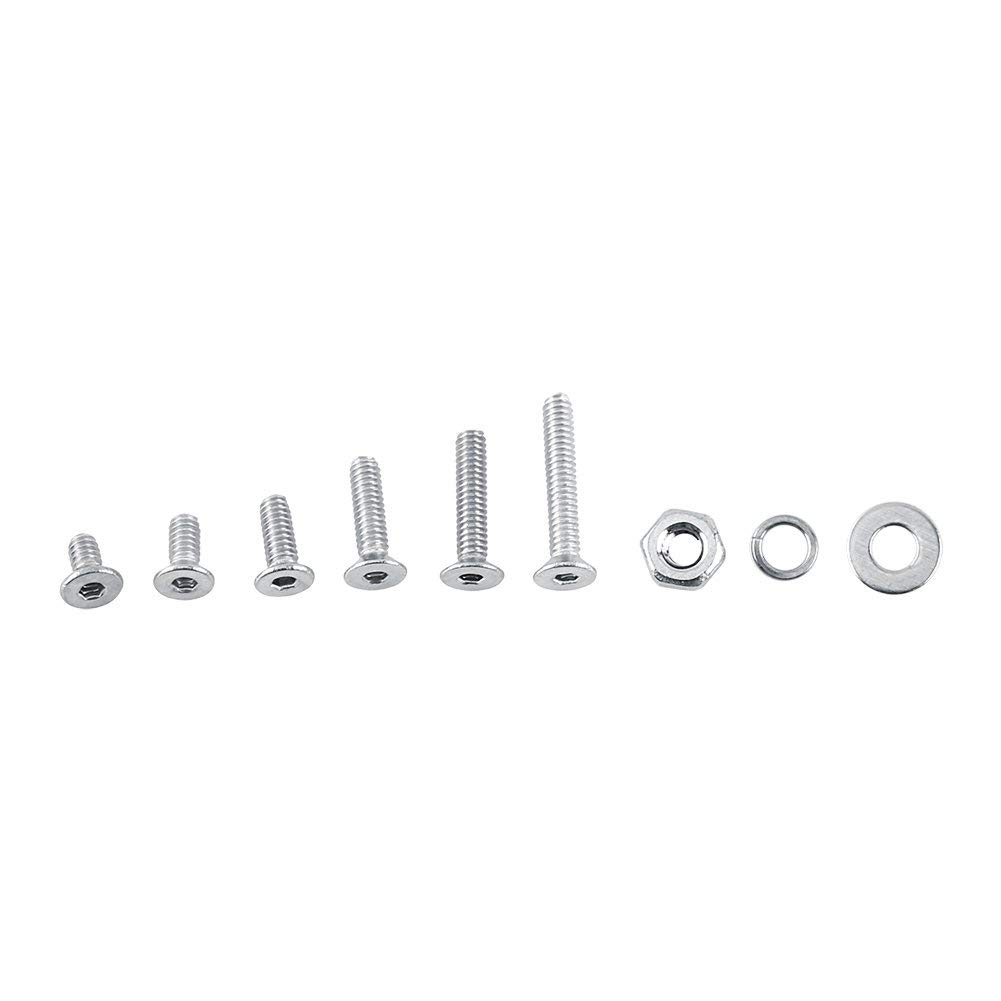Pack of 600 Pcs M2 304 stainless steel Hex Grub Screws Bolt With Head Nuts and Washers Thread Cup Point Machine Fastener Assortment Kit(C:Flat head)