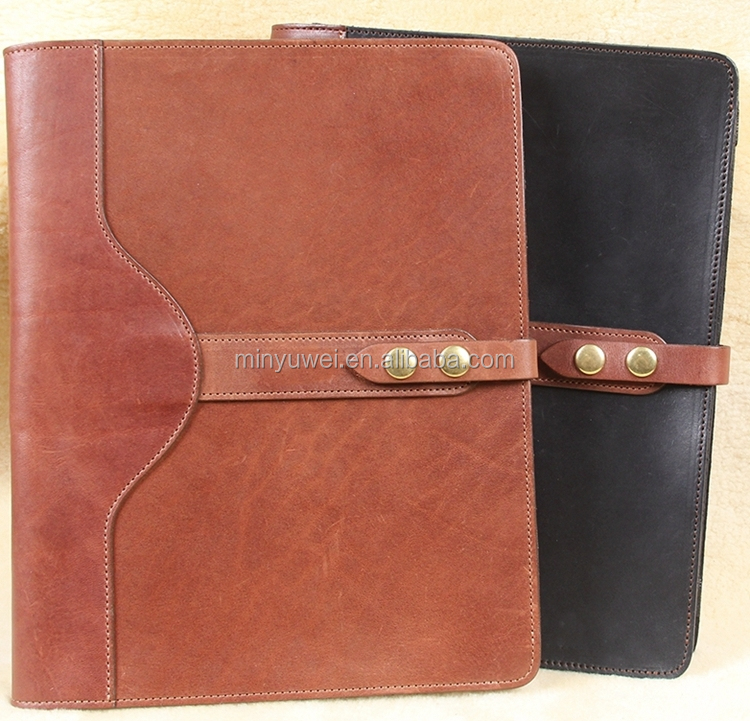 Fashion tanned leather tablets portfolios large size pad folios office gifts