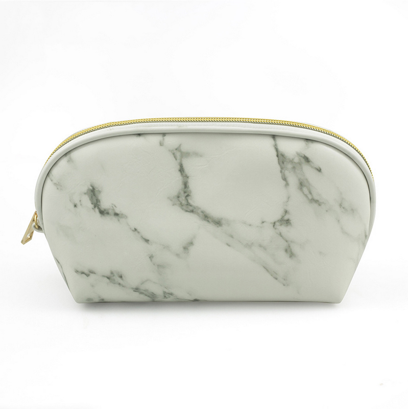 2019 Fashion marble pu shell shape makeup cosmetic bag for women lower MOW for wholesale