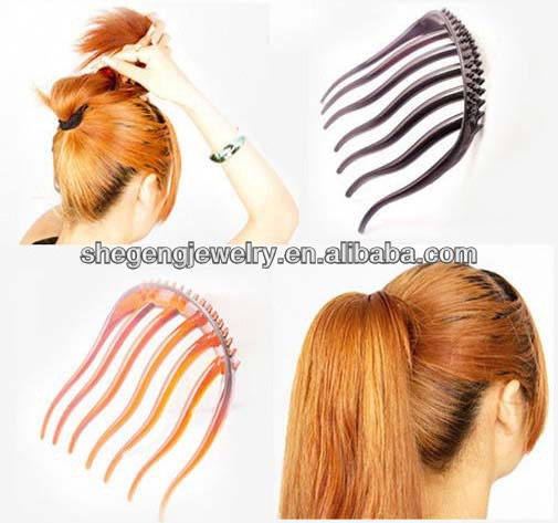 10 Coffee Plastic Volume Inserts Hair Comb Clips for ponytail bouffant styles