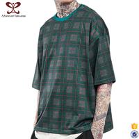 2017 Fashion Digital Printed t shirts O Neck Oversize Loose Fit tee shirt Men's Square Striped t shirt