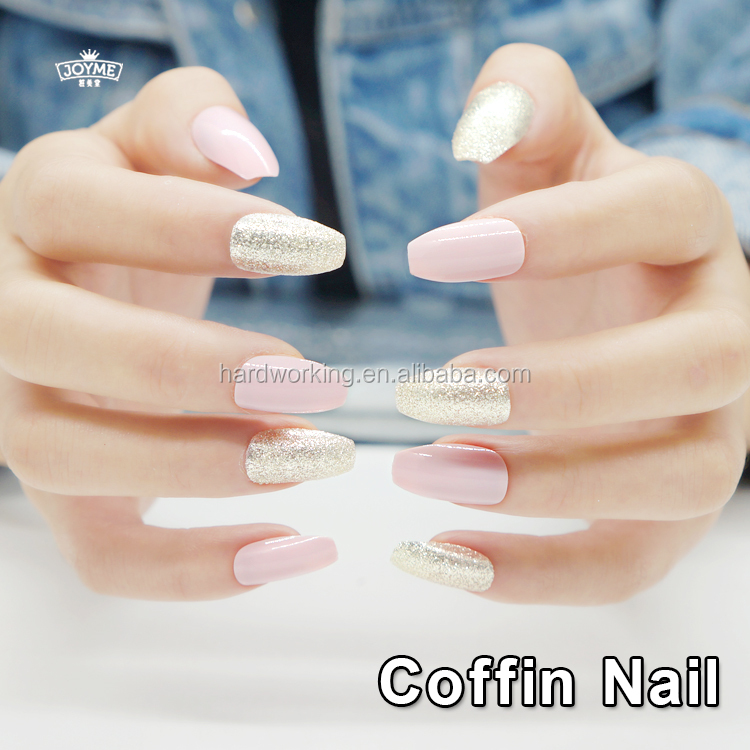 fashion soft material coffin shape press on full cover artificial nail tips