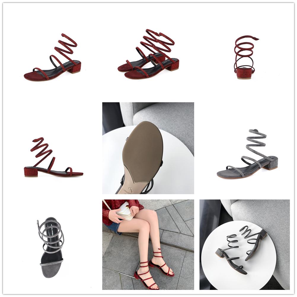 맞춤형 뱀 샌들 레이디 하이힐 신발 여성 섹시한 샌들