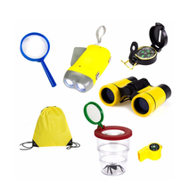 New Outdoor Exploration Kit for Kids ,Adventurer Set with Binoculars, Flashlight, Compass, Whistle, Magnifying Glass, Backbag