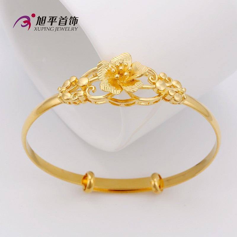 xuping jewelry wholesale jewellery, latest design 24k gold color bangle,  exquisite flower women gold
