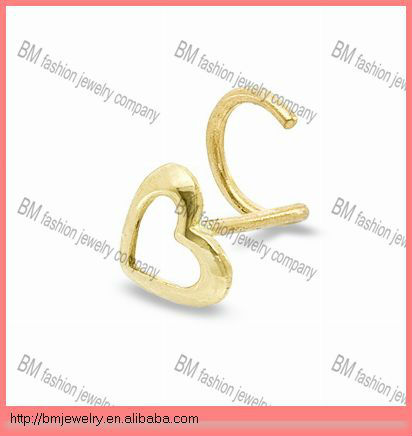 Heart-Shaped Nose Stud Ring in 14K Gold Piercing Jewelry