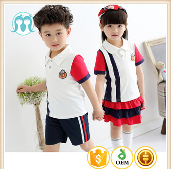 61560da5c China Wholesale Boys and Girls Customised Cotton Summer school uniform  design with pictures short sleeves T