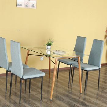 Home Cheap Dining Room Furniture Modern Design Glass Dining Table And Pu  Leather Chairs Sets - Buy Glass Dining Table,Glass Dining Table,Glass  Dining ...