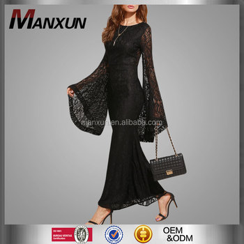 Black Oversized Bell Sleeve Floral Lace Long Dress 2017 Latest