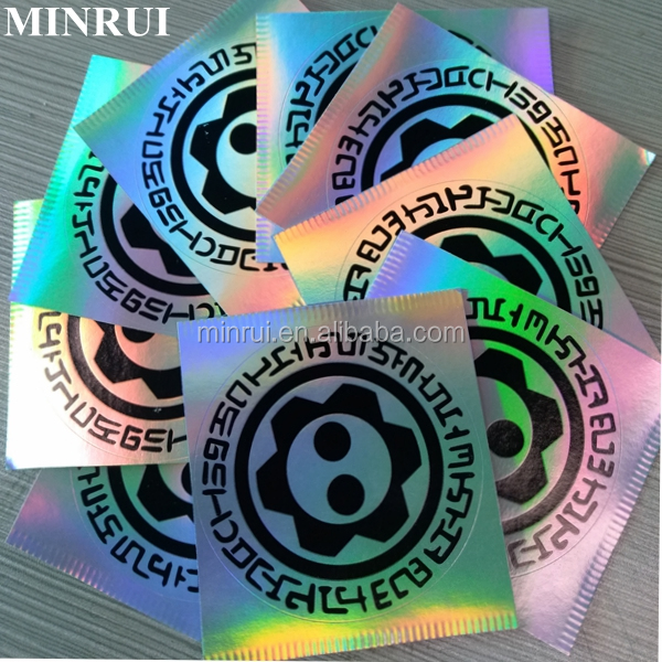 Hot sale custom black printing hologram destructible eggshell stickers 3d holographic paper eggshell stickers
