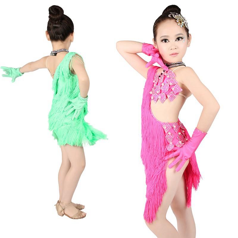 Girl Latin Dance Dress Tango Salsa  Ballroom Competition Tassel Dress  L033