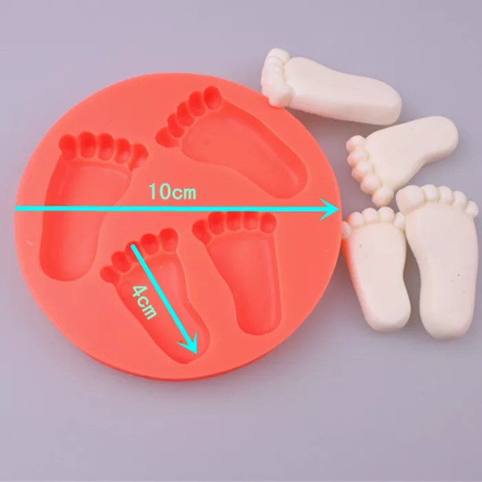 FDA 3D Baby Feet Candy Jelly Fondant Mould, silicone foot shaped cake mold