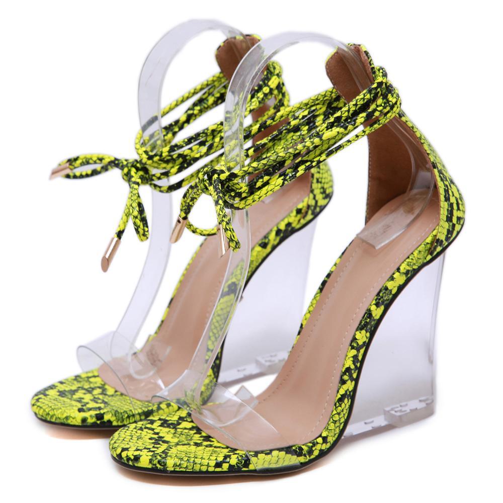 8ed085e0e2a CSS487 snake skin women jelly sandals 2019 transparent wedges clear heels