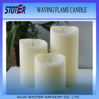 set of 3 LED Wax Pillar Candle with Moving Wick
