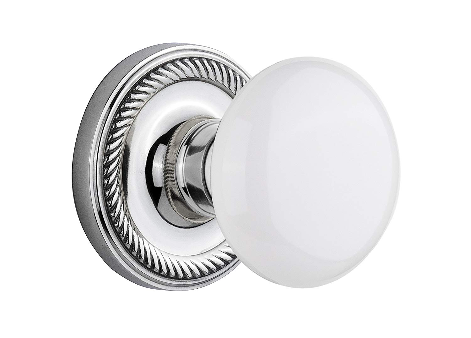 "Nostalgic Warehouse Rope Rosette with White Porcelain Knob, Privacy - 2.375"", Bright Chrome"