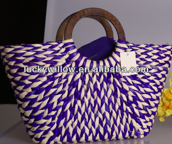 fashion straw beach bag corn bran bags factory supply