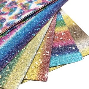 Rainbow Star Glitter Leather Material Fabric For Hair Bows 66076