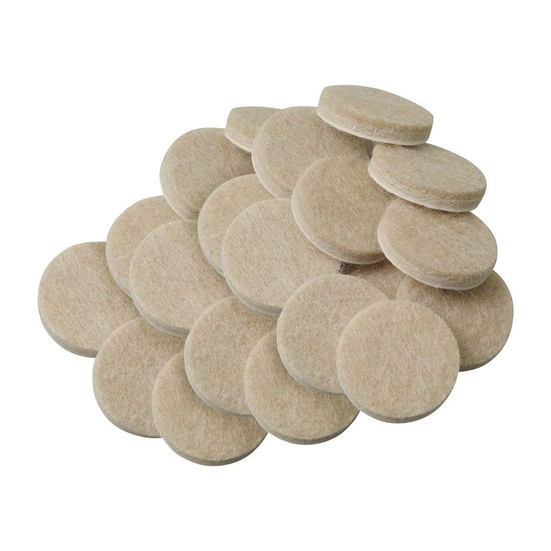 TOOGOO(R) 20pcs Self-Stick 3/4 inch Furniture Felt Pads for Hard Surfaces - Oatmeal, Round