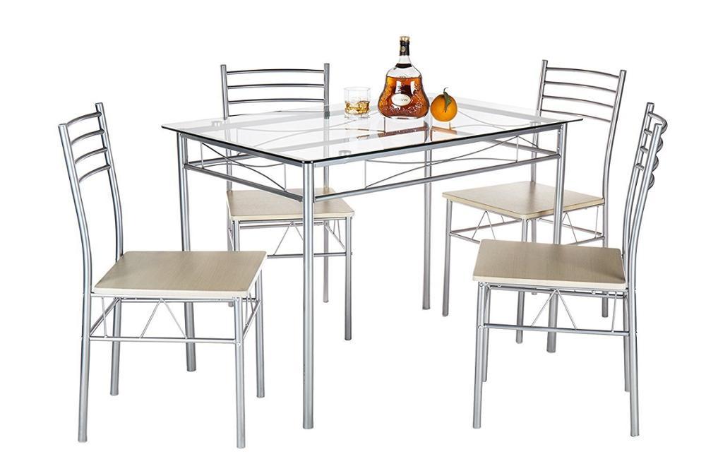 Metalen Eetkamer Set 10mm Gehard Glas Top Eettafel Sets Met 4 ...