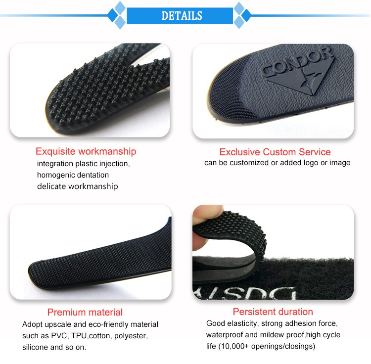 High quality sportswear micro injection customized pvc hook&loop Strap sleeve tabs