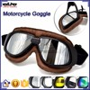 BJ-GT-008 New Style Silver Lens Brown Leather Racing Motocross Goggles