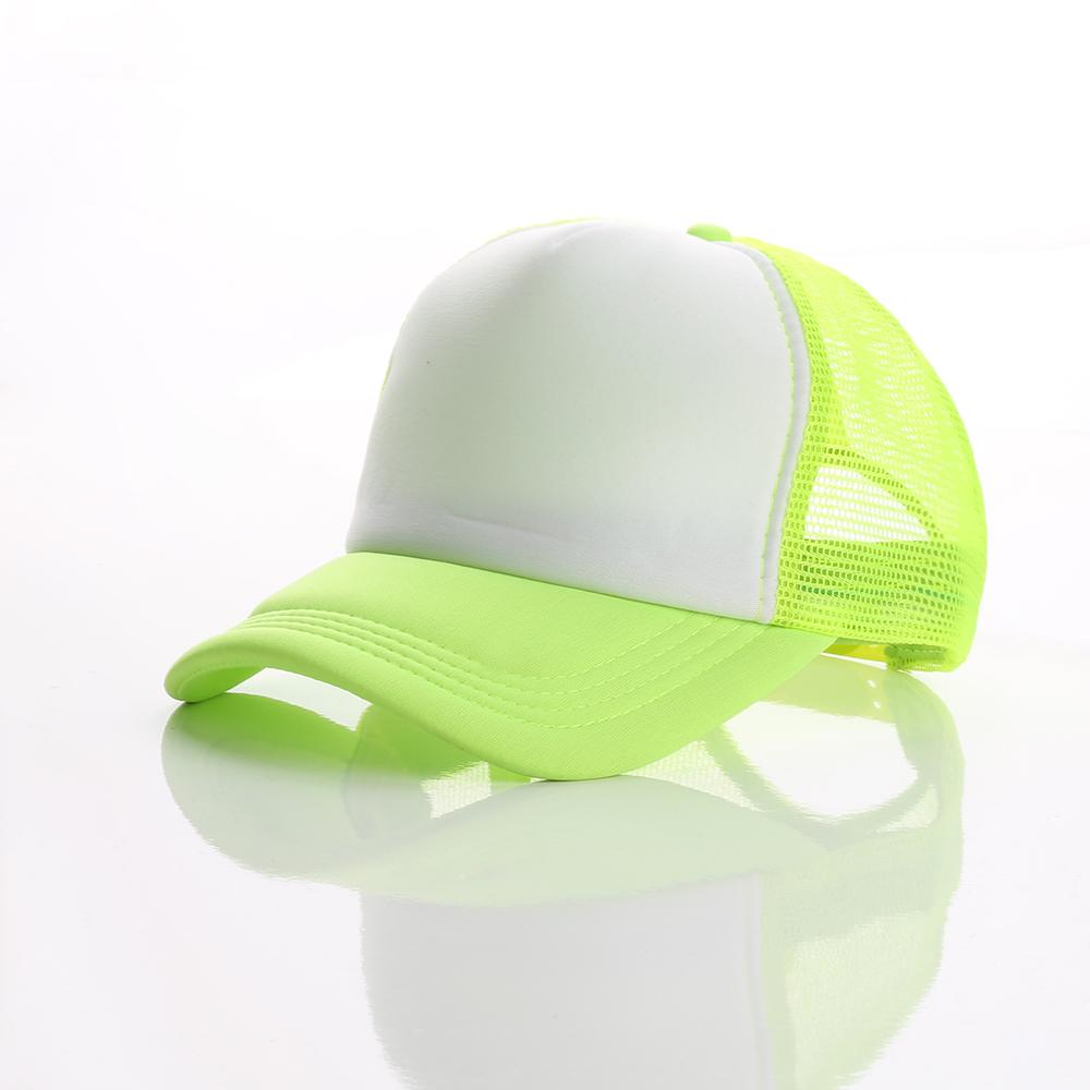YUEXING Free Sample wholesale custom logo oem 5 panel bulk blank fluorescent trucker mesh cap without logo