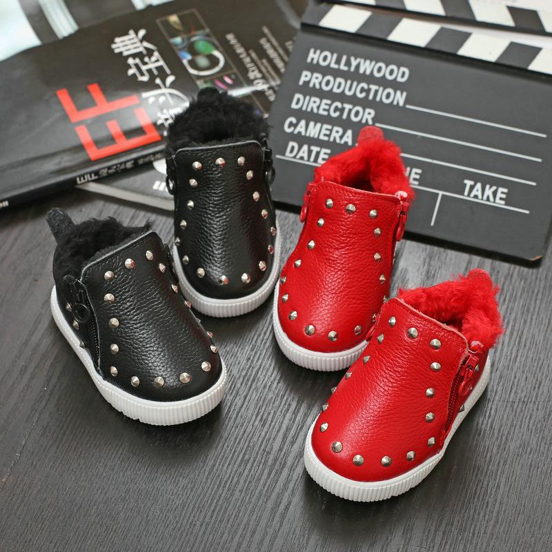 2015 зима новый корейский ребенок сапоги в возрасте 0 - 1 Piga хлопок заклепки невинность малыш обувь мягкое дно