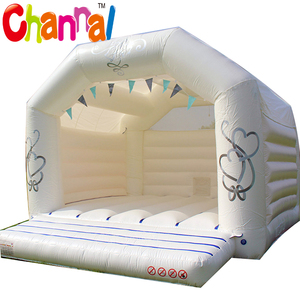 White inflatable bouncy castle for wedding party