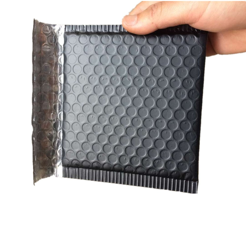 "MultiBey 50PCS 6"" x 5"" Metallic Poly Bubble Mailer Matte Black Envelopes Self-seal Mailer Bags"