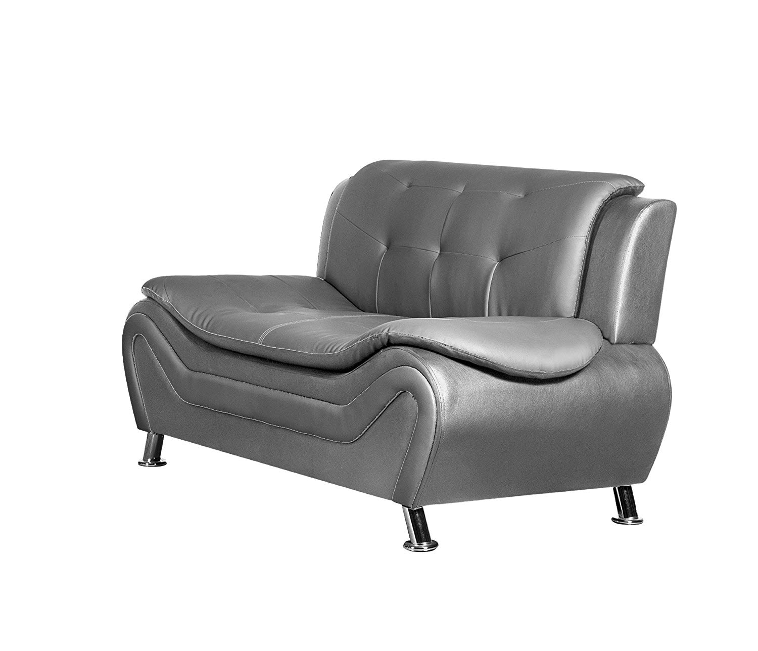 Get quotations · container furniture direct s5413 l arul leather air upholstered mid century modern loveseat grey