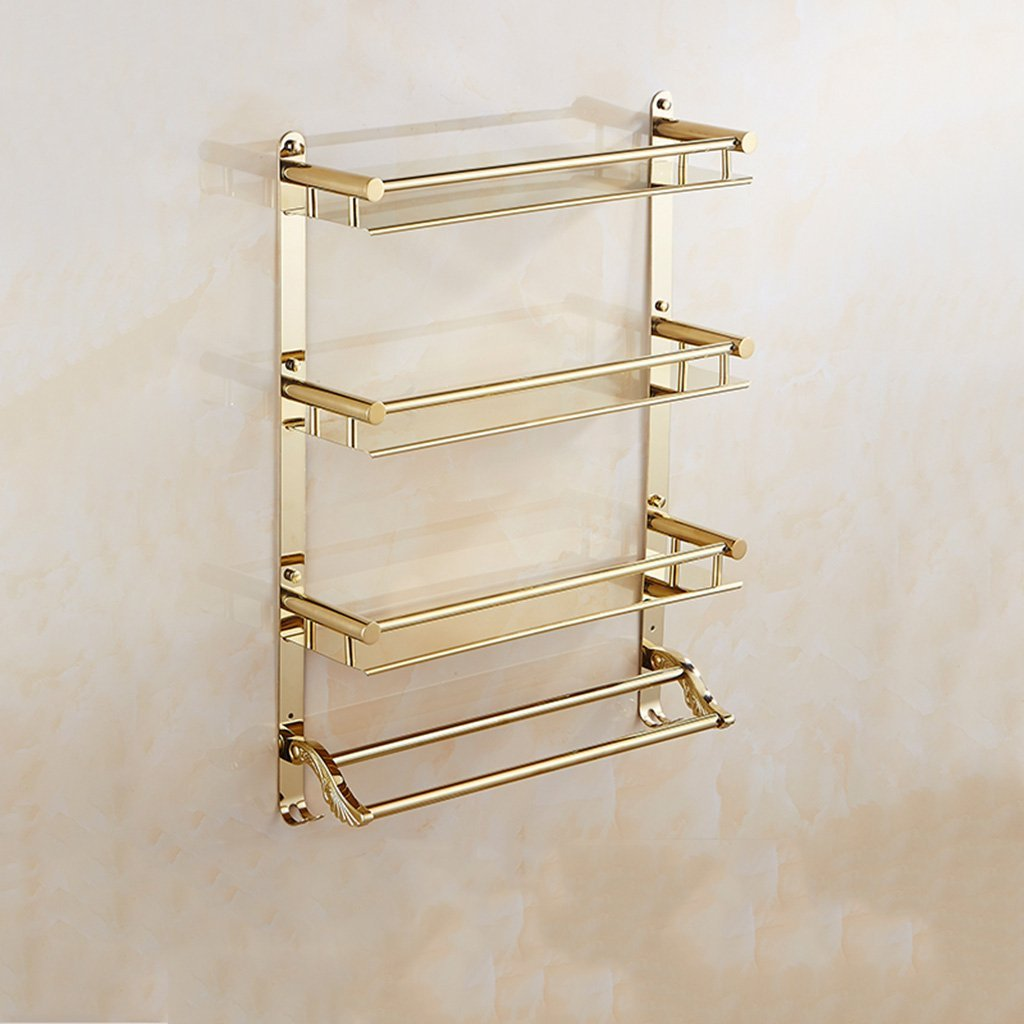 LQQGXL Storage and organization Bathroom 3-tier shelf European-style gold stainless steel wall hook Multi-function double towel bar (size: 40cm) (Size : 40cm)
