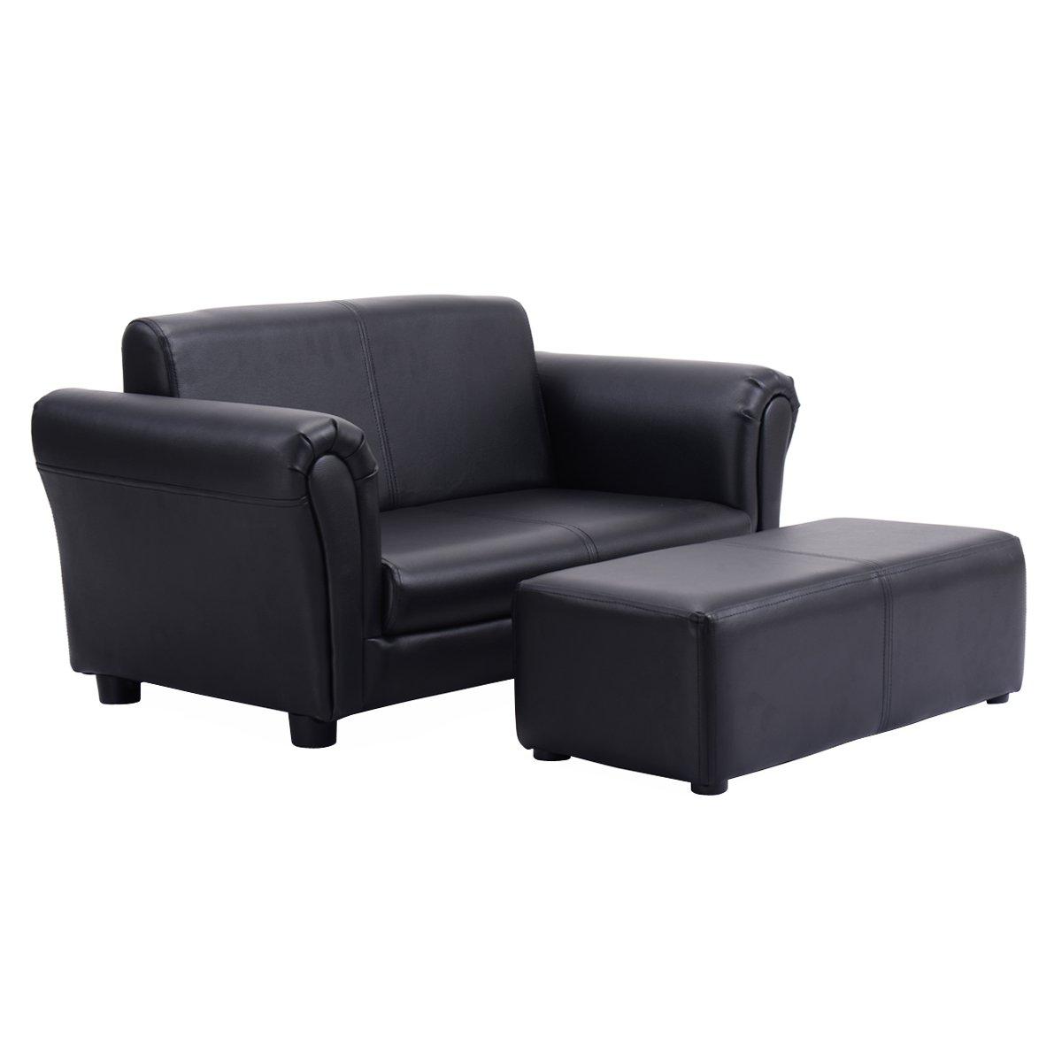 Costzon Kids Sofa Set 2 Seater Armrest Children Couch Lounge w/Footstool (Black)