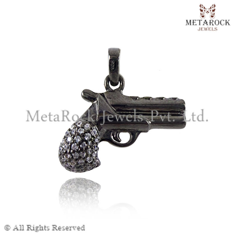 Pave Diamond Gun Shape Pendant Charms, wholesale fashion pendant, handmade pendant