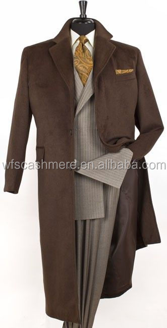 Men's 51 Inch Fashion Top Coat in Cashmere Feel. Wool Blend Fabric with Fly Front