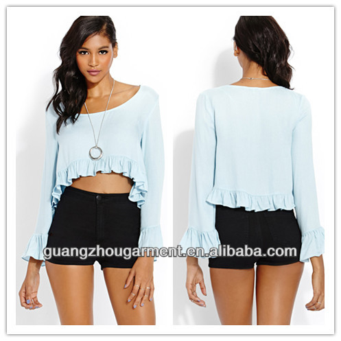 2014 casual ruffled rayon tops wholesale price for women summer fashion wear
