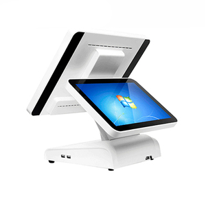 Dual Monitor Commercial pos system restaurant equipment Resistive Touch Screen 15 Inch TFT LED All In One PC Cashier Register
